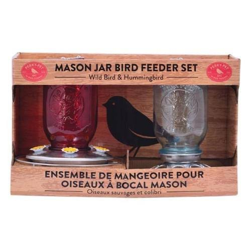 Perky Pet Wild Bird & Hummingbird Glass Mason Jar Hanging Bird Feeder 13 Ports