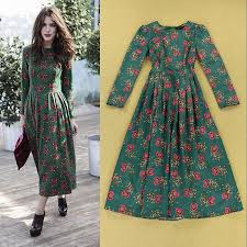 2016 Spring Ladies Boutique Designer Vintage Red Flower Green Print Pleated Dress Elegant In Dresses From Womens Clothing Accessories On