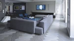 Gray Wooden Flooring Living Room Interior Sofa Blue Accents