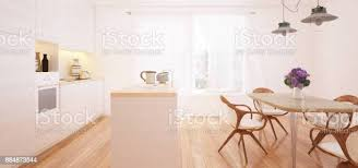 moderne küche und esszimmer interior 3d render stockfoto und mehr bilder architektur