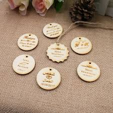 Personalized Engraved Thank You Wedding Wooden Tags Custom Round Circle Hang Rustic Bridal Shower