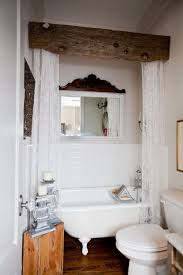I Love The Wood Beam For A Shower Curtain Rod Combine Downton Abbey Lace Panels With Rustic Piece Of This Charming Look From Hill Farmhouse