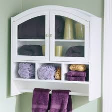 White Bathroom Wall Cabinets With Glass Doors by Bathroom White Wall Mounted Bathroom Towel Storage With Glass
