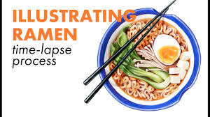 Illustrating Ramen with Watercolor and Colored Pencil