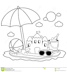 Summer Vacation Island With Beach Umbrella A Sandcastle And Other