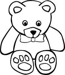 Teddy Bear 1 Black White Line Art Coloring Sheet Colouring Page 999px Png 147K