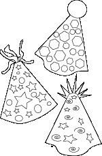 Happy Birthday Party Hats Coloring Sheet Free Printable Line Drawing Of Ready To Color In