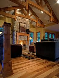 Delightful Living Room Designs With Vaulted Ceilings And Brick Stone Flooring Ideas
