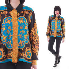 Vintage Silk Baroque Button Down Blouse Royal Trophy Swag Scarf Shirt Versace Style 90s Hip Hop