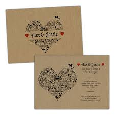 FLORAL SWIRL HEART RUSTIC Wedding Invitations