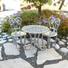 This Wee Faux Aluminum Patio Set Adds Modern Elegance To The Miniature Garden