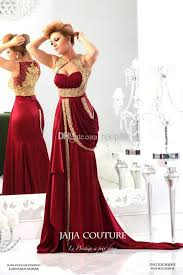 2014 New Arrival Jajja Couture Red Evening Dresses Sweetheart Chiffon Runway Vintage Gold Embroidery Crystals Prom Gowns Online With