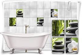 medianlux fliesenaufkleber fliesenbild zen steine blüte bambus grün wellness spa aufkleber sticker deko bad wc 15x20cm fp5p150h 71810