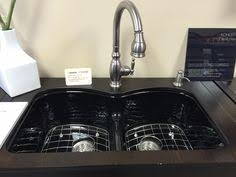 grohe stainless black faucet in kohler langlade sink in black in