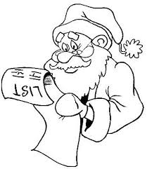 Picture Of A Santa Claus Coloring Page With Christmas List