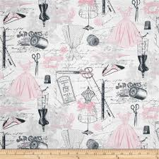 Timeless Treasures Dress Making Motifs Pink