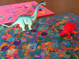 Preschool Collaborative Impressionism Art Painting With Dinosaurs