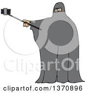 Clipart A Cartoon Muslim Woman Wearing A Burka And Taking A Selfie Royalty Free Vector