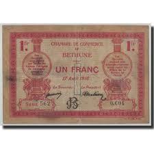 chambre de commerce bethune 314850 béthune 1 franc 1916 tb pirot 26 17 tb 1