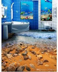 großhandel großhandels kundenspezifisches foto boden tapete schöner strand brandungs toiletten badezimmer wohnzimmer 3d bodenbelag selbstklebende