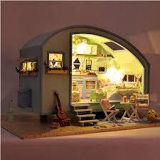 Miniature Vintage Travel Trailer Dollhouse Fully Furnished Assembled