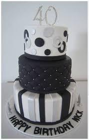 black white silver 40th tier birthday cake