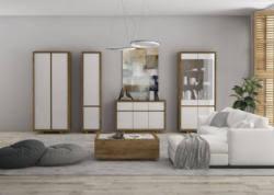 wohnzimmer komplett set a brisen 5 teilig farbe braun weiß hochglanz