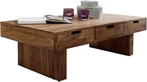wohnling couchtisch massivholz sheesham design wohnzimmer tisch 110 x 60 cm 3 schubladen landhaus stil holztisch rechteckig natur produkt