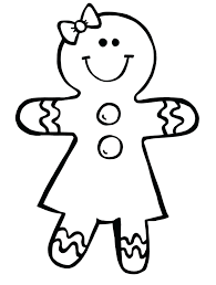 Gingerbread Man Coloring Sheets Pages Printable Picture Christmas Page Blank Full Size