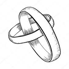 Wedding rings doodle — Stock Vector