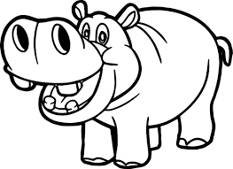 Zoo Hippopotamus Coloring Page