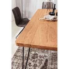 wohnling esstisch bagli massivholz akazie 180 x 76 x 80 cm esszimmer tisch küchentisch modern landhaus stil holztisch mit metallbeinen dunkel braun