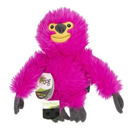 Godog Fuzzy Sloth Chew Guard Plush Dog Toy, Pink, Large