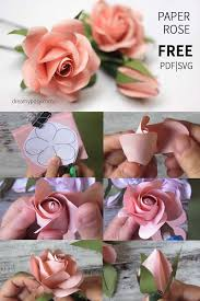 Paper Rose Free Template And Tutorial Flower Templates Tutorials