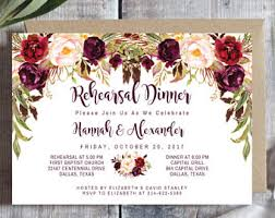 Wedding Rehearsal Dinner Invitations Printed Rustic Boho