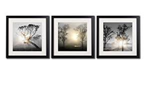 Black And White Wall Art Painting For Living Room Decor Tree At Sunrise Giclee Prints Landscape