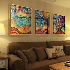 la vie 3 teilig wandbild bunter abstrakter baum ölbild