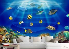kundenspezifische 3d wandbild tapete tropical aquarium 3d wandhintergründe für wohnzimmer fototapete 3d landschaft tapete