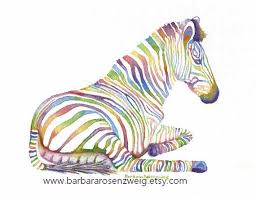 Rainbow Zebra Print Bedroom Decor by Zebra Art Zebra Print Zebra Painting Watercolor Zebra Kids