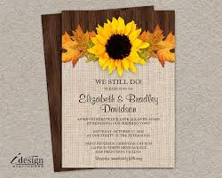 DIY Rustic Fall Vow Renewal Invitation Printable Sunflower Reaffirmation Invitations Country Invites We Still Do