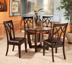 round glass top dining table set w 4 wood back side chairs eva