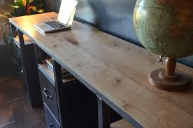 bureau industriel metal bois bureau console bois mtal industriel sur mesure micheli design avec