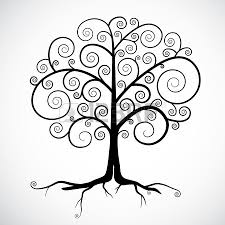 Abstract Vector Black Tree Illustration Isolated On Light Grey Background Stock
