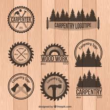 Set Of Carpentry Badges In Vintage Style