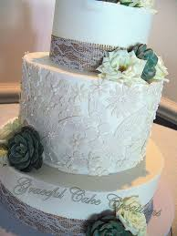 Elegant Rustic Chic Wedding Cake With Lace Applique