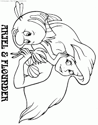 Ariel And Flounder Coloring Pages Draw