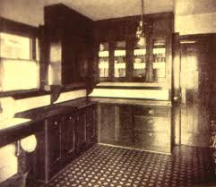 An Early Installation Of Kitchen Cupboards C1905 Wood Counter Tops And Sink Drains Were Common