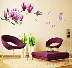 wandsticker4u wandtattoo blumen magnolie lila wandbilder 150x55cm wandsticker baum zweige blüten garten wand aufkleber pflanzen deko für