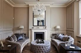 Gray And Purple Living Room With Trim Moldings On Taupe Walls As