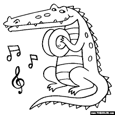Crocodile Cymbals Coloring Page